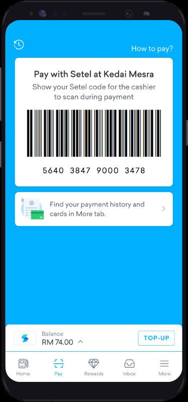Pay At Kedai Mesra Step 1